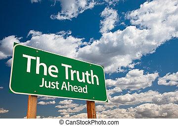 verde, verità, segno strada