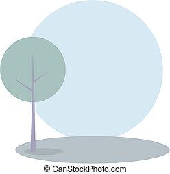 verde, vetorial, árvore, colina