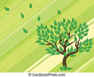 verde, vetorial, árvore, experiência.
