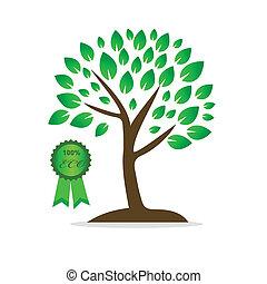 verde, vetorial, árvore