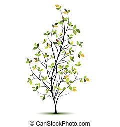 verde, vetorial, árvore, silueta
