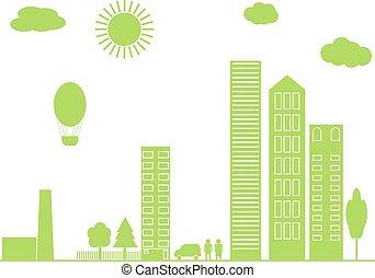 verde, vetorial, city., illustration.