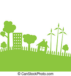 verde, vetorial, city., ilustração