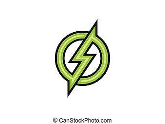 verde, vetorial, desenho, elétrico, logotipo