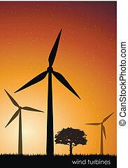 verde, vetorial, turbinas, energy., vento
