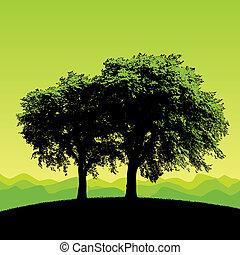 verde, vettore, albero, fondo