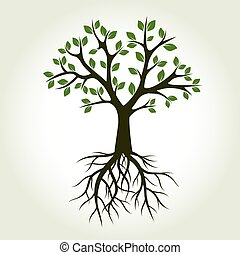 verde, vettore, albero, illustration., roots.