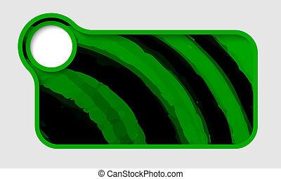 verde, vettore, testo, cornice