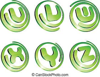 verde, vibrante, logotipo, set.