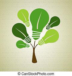 verde, vida, árbol, ilustración