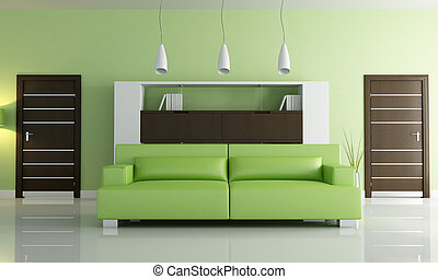 verde, vida moderna, habitación