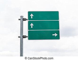 verde, vuoto, nubi, strada, segno