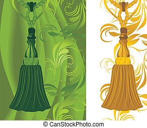 verde, y, dorado, borla