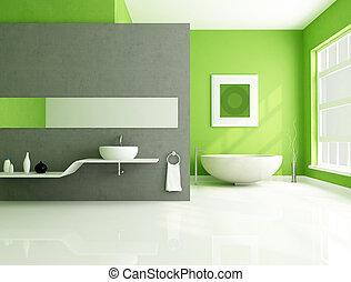 verde, y, gris, contemporáneo, cuarto de baño