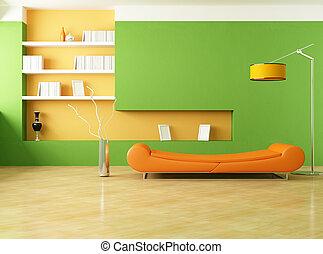 verde, y, naranja, salón