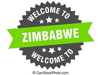 verde, zimbabwe, signo., bienvenida, pegatina