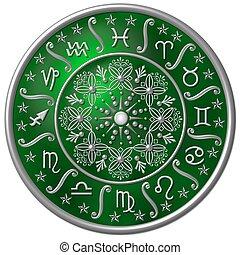 verde, zodíaco, disco
