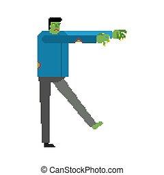 verde, zombie, art., morto, pixel, pezzo, 8, vettore, illustrazione uomo