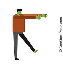 verde, zombie, morto, vettore, isolated., illustrazione uomo, cartone animato