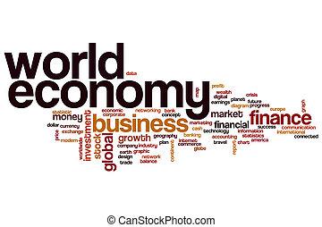 verden økonomi, glose, sky