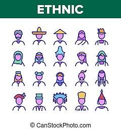 verden, folk, iconerne, vektor, etniske, sæt, samling