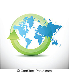 verden kort, konstruktion, illustration, cyklus