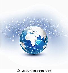 verden, netværk, vektor, illustration, mesh