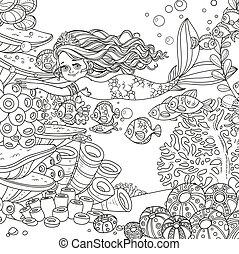 verden, pige, liden, smukke, skitseret, fisk, bad, havfrue, underwater, baggrund, anemoner, koraller
