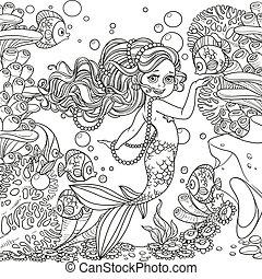verden, pige, liden, smukke, skitseret, havfrue, underwater, baggrund, anemoner, koraller