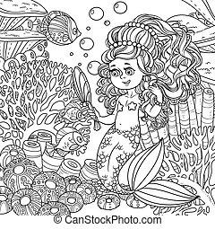 verden, sig, pige, skitseret, pretties, hånd, baggrund, havfrue, underwater, fish, spejl, forside, koraller, cartoon