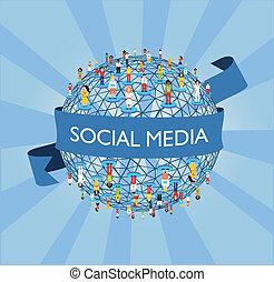 verden, sociale, netværk, medier