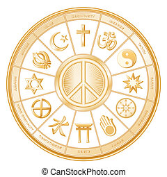 verden, symbol, fred, religioner