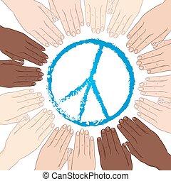 verden, vektor, fred