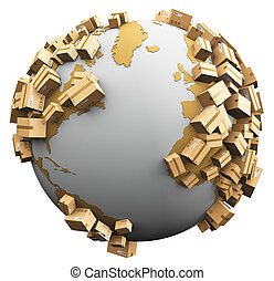 verdensomspændende, begreb, genbrug, skade, miljøbestemte, forsendelse