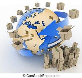 verdensomspændende, concept., forsendelse