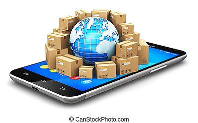 verdensomspændende, logistik, begreb, globale, forsendelse
