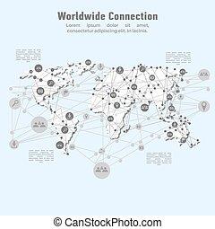 verdensomspændende, netværk, connection.