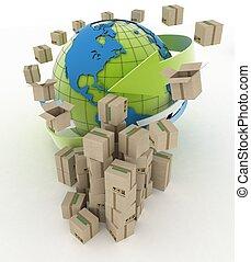 verdensomspændende, omkring, klode, forsendelse, baggrund., bokse, hvid, karton, concept., 3
