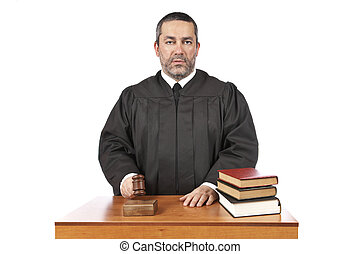 Verdict - A male judge in a courtroom striking the gavel and...