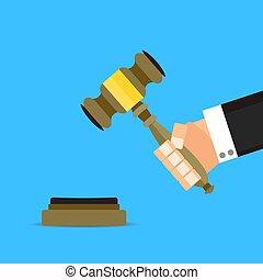 Verdict judge with hammer vector flat cartoon