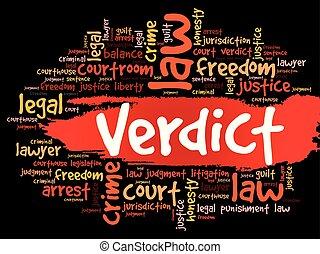 Verdict word cloud collage, law concept background
