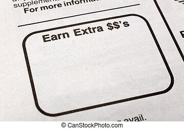 verdienen, dollars, extra
