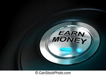 verdienen, geld, tekst, geschreven, op, een, metaal, knoop,...
