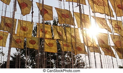 verdienst, öffentlichkeit, tempel, flaggen, thailändisch,...