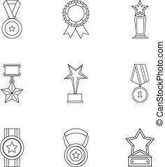 verdienste, iconen, set, schets, stijl