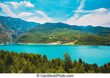 Verdon Gorge, Lake of Sainte-Croix, France. South-eastern France. Provence-Alpes-Cote d'Azur