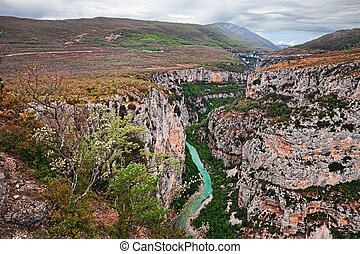 Verdon Gorge, Provence, France: landscape of the river canyon