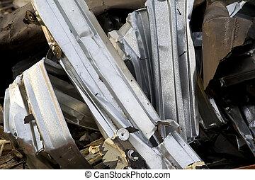 verdraaid, metaal, op, gebouw stek