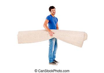 verdragend, man, tapijt
