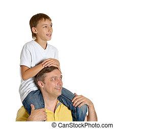 verdragend, vader, zoon, schouders